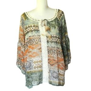 Umgee Bohemian Printed Top Lace L feather